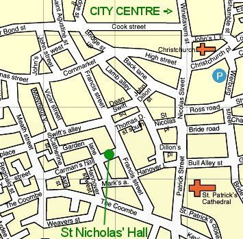 Map to St Nicholas' Hall