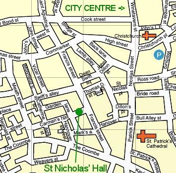 Map to St Nicholas' Hall